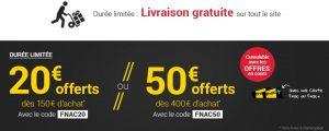 FLASH FNAC 20€ offerts dès 150€ ou 50€ offerts dès 400€