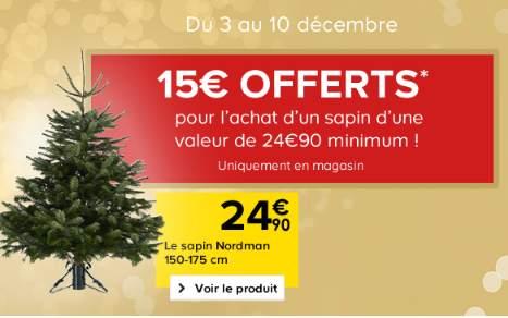 15€ offerts pour l'achat d'un sapin de Noel chez Castorama