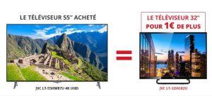 Smart TV 4K JVC 139 cm achetée = 1€ la TV 81cm