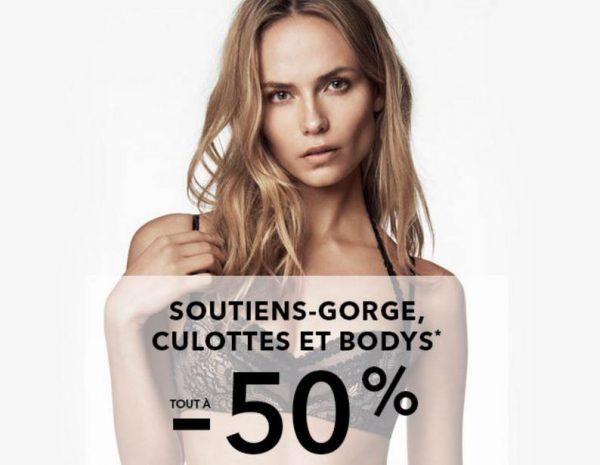 Soutien-gorge, body et culotte à moitié prix sur Etam