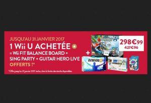 Moins de 300€ le pack Wii U Premium Mario Kart 8 + Wii Fit U avec Balance Board et Fit Meter + Sing Party avec Micro + Guitar Hero Live