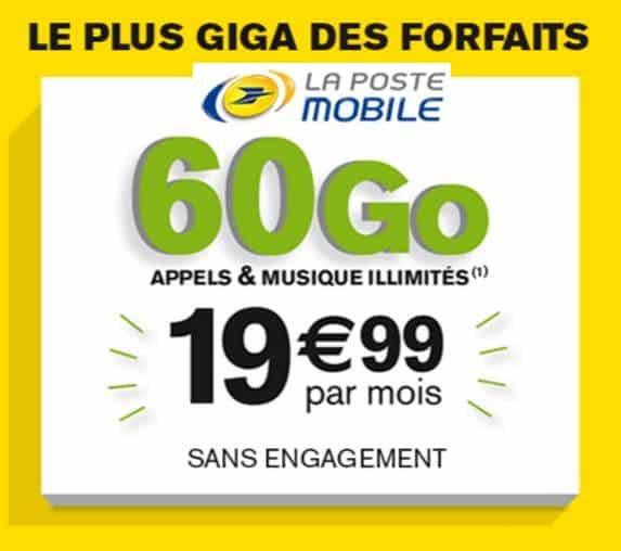19,99€ le forfait 60Go La Poste Mobile