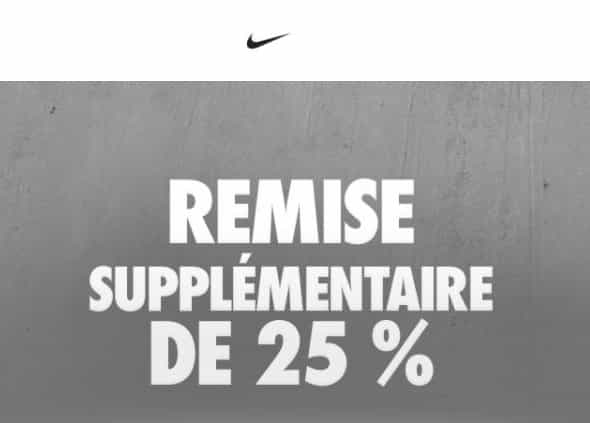 25% supplémentaires soldes Nike