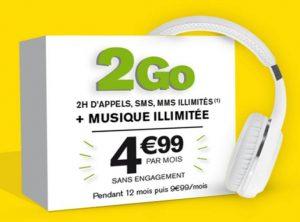 4,99€ le forfait La Poste Mobile 2Go, musique illimitée