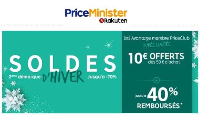 10€ de remise à partir de 59€ pour les soldes de Priceminister