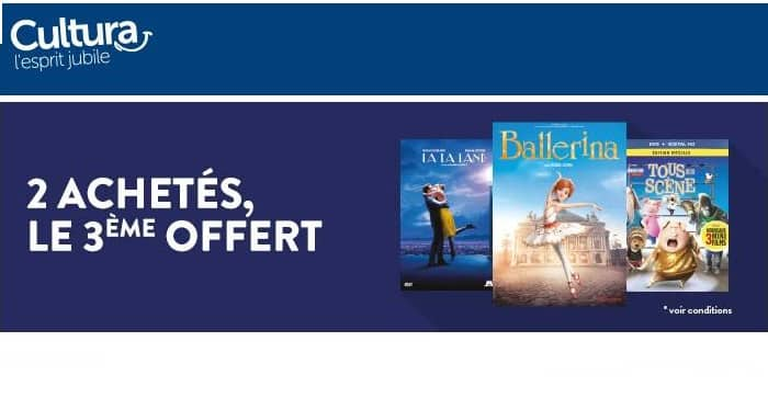 2 DVD-Blu-Ray achetés = 3ème gratuit