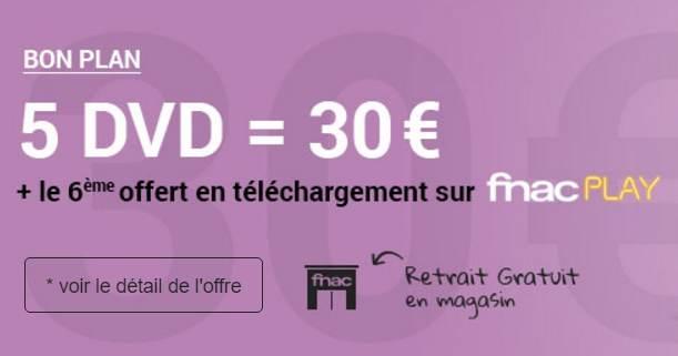 30€ les 5 DVD + 1 film en téléchargement gratuit