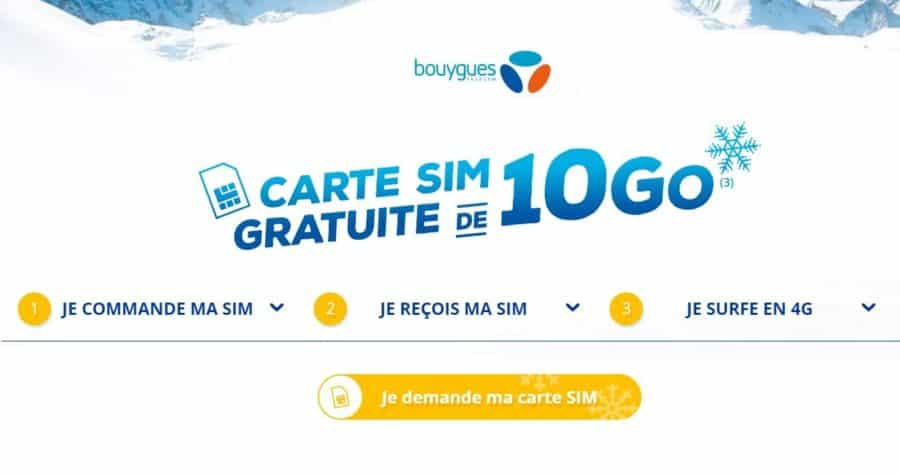 carte sim avec 10 go en 4g bouygues telecom gratuite. Black Bedroom Furniture Sets. Home Design Ideas