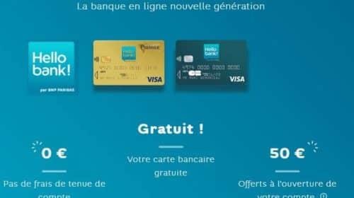 Hello bank ! 50€ offerts + CB gratuit + 0€ frais pour l'ouverture d'un compte