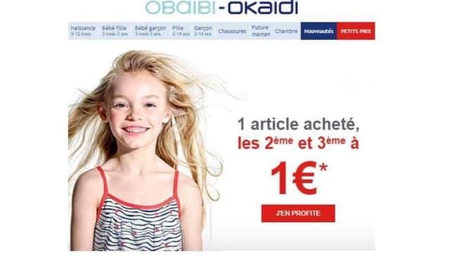 Okaïdi 1 article acheté le 2ème et 3ème à 1 euro