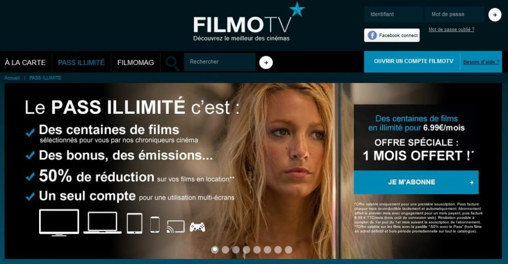 pass vod filmotv illimit 1 mois offert pour 1 mois achet 6 99. Black Bedroom Furniture Sets. Home Design Ideas