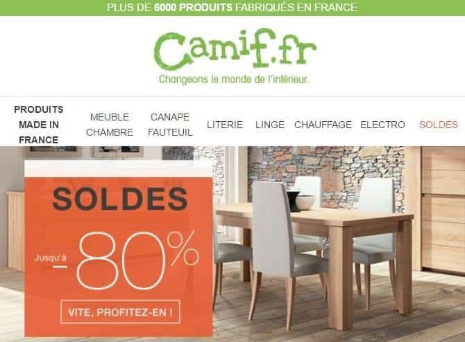 soldes camif nouvelle d marque jusqu 80 sur mobilier. Black Bedroom Furniture Sets. Home Design Ideas
