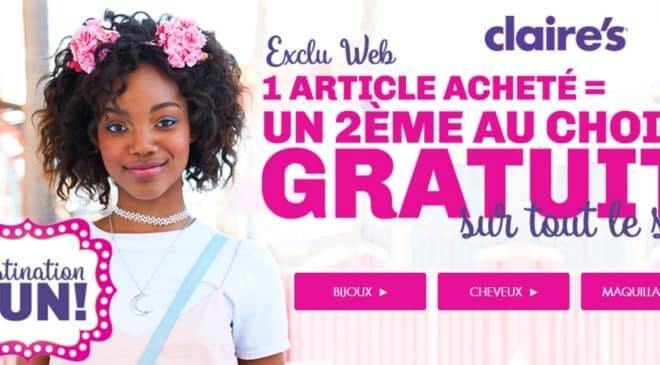 1 article acheté deuxième gratuit Claire's