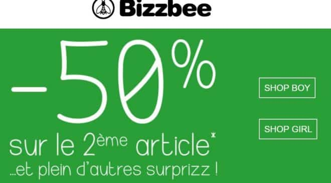 1 article achete le second a -50% Bizzbee