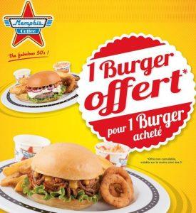Memphis Coffee 1 burger offert pour 1 acheté