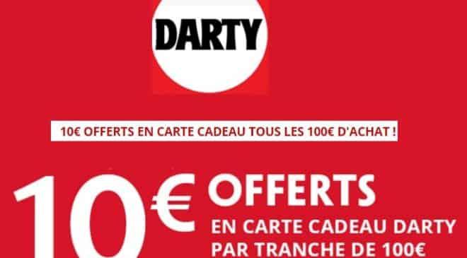 10 euros offerts tous les 100 euros d'achat DARTY