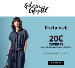 20€ remises sur les nouvelles collections sur Galeries Lafayette
