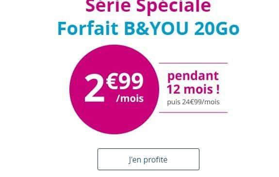Maintenant 2,99€/mois le Forfait 20Go B&YOU sans engagement