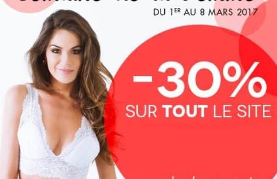 30% supplementaire sur tout Mademoiselle lingerie