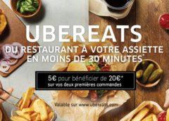 Coupon UberEATS : 20€ de remise sur 2 premières commandes pour 5€