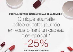 Journée de la femme Clinique : remise de 25%