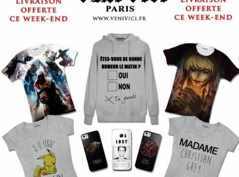 Livraison gratuite sans minimum sur VeniVeci (T-shirts originaux et personnalisables)