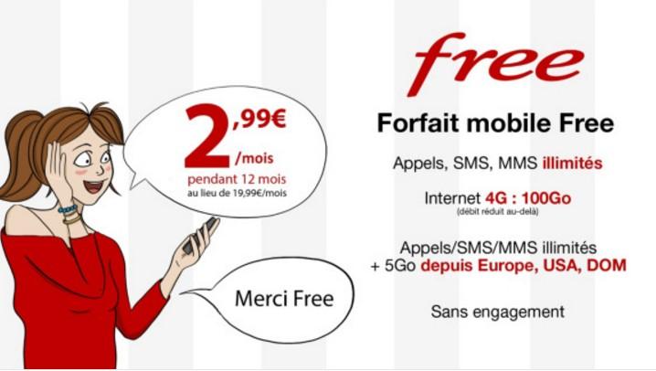 Vente forfait mobile Free à 2,99€/mois 100GO