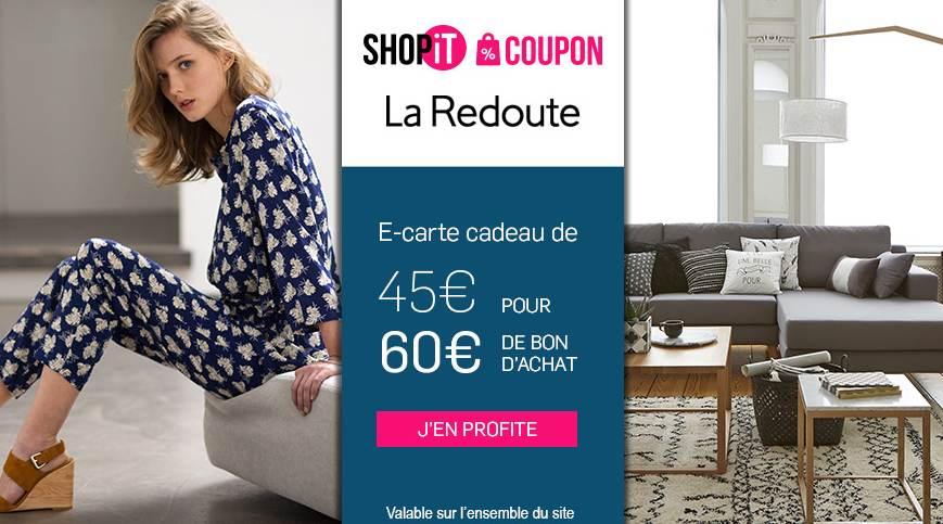 45 la carte cadeau la redoute d une valeur de 60 d achats valable sur tout et cumulable promo. Black Bedroom Furniture Sets. Home Design Ideas