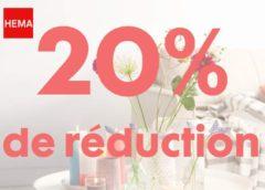 20% de remise sur HEMA jusqu'à dimanche