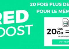20Go au lieu de 1Go le forfait RED illimité de 10€ avec appels, SMS et MMS en France sans engagement