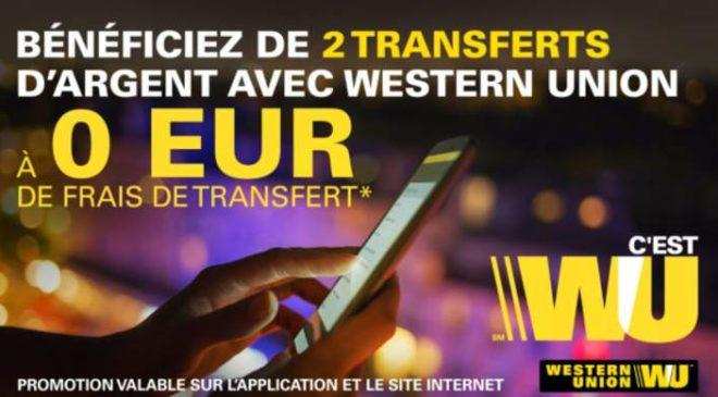 0€ de frais d'envoi sur 2 transferts d'argent avec Western Union