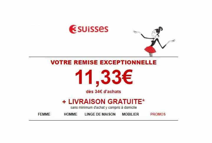 11,33€ sur 3Suisses dès 34€ d'achat