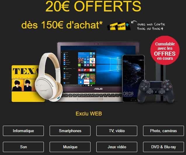 20€ offerts sur FNAC
