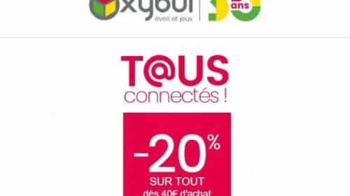 40€ d'achat sur Oxybul = 20% de remise immédiate (