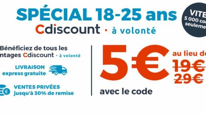 5€ l'option Cdiscount à Volonté pour les 18-25 ans