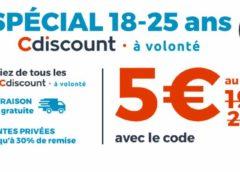 5€ l'option Cdiscount à Volonté pour les 18-25 ans (aujourd'hui seulement)