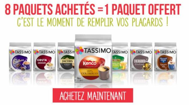 8 paquets Tassimo achetés 1 paquet offert