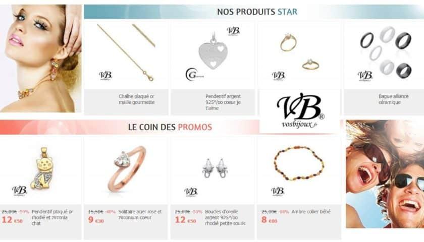 Bijoux argent et fantaisie moins chers sur VosBijoux
