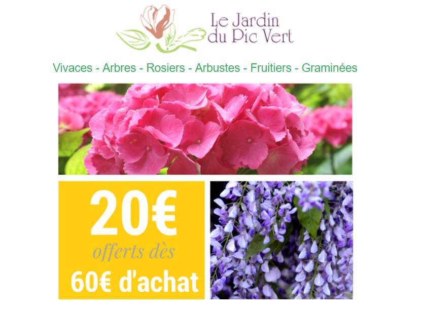 bon plan jardinerie en ligne 20 des 60 d achat sur. Black Bedroom Furniture Sets. Home Design Ideas