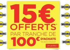 Bricorama offre 15€ par tranche 100€ / 10€ par tranche 50€