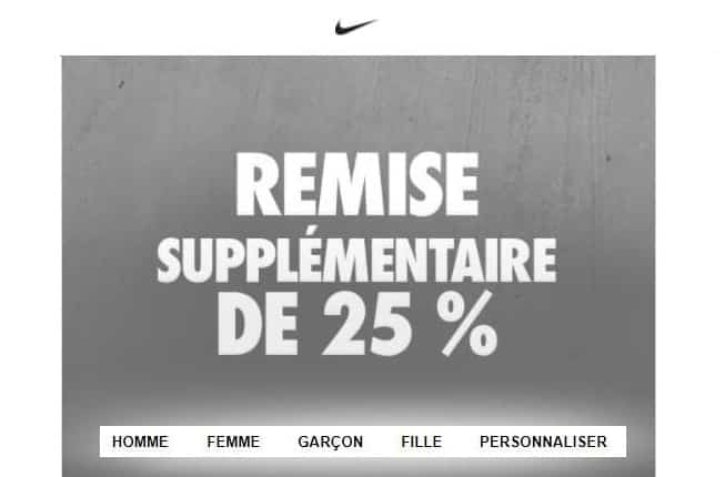 Code promo NIKE : 25% supplémentaires