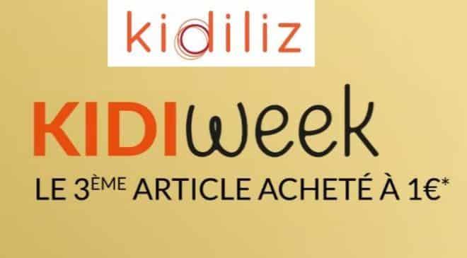 Kidiweek de Kidiliz : 2 articles achetés = le troisième à 1 euro