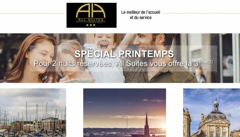 Offre All Suites Appart Hotel 3 nuits pour le prix de 2