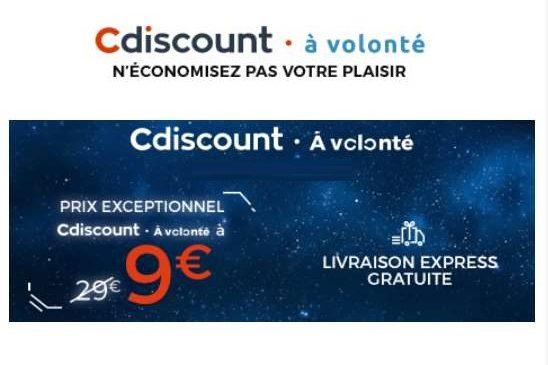 Option Cdiscount à Volonté 1 an à 9€