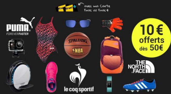 Rayon sport FNAC : 10€ offerts dès 50€