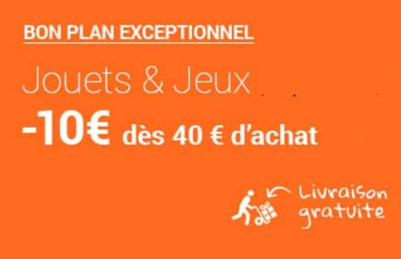 Remise de 10€ dès 40€ d'achat jouets & jeux FNAC