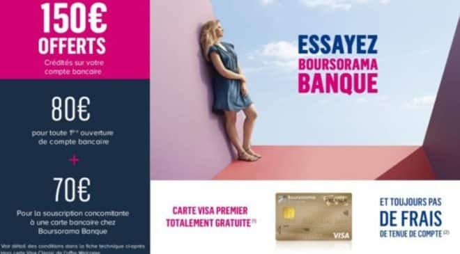 Vente privée Boursorama : ouverture d'un compte + carte CB = 150€ offerts 💰
