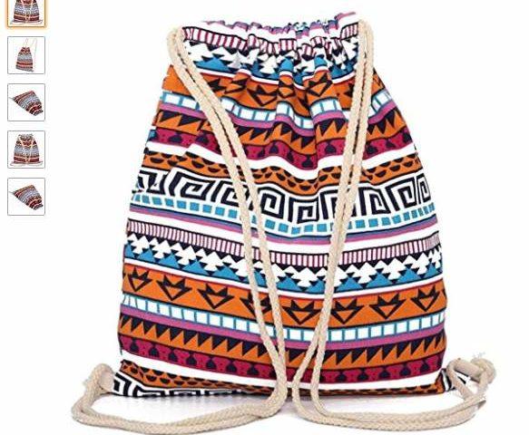 sac en tissus fermeture bandoulière corde