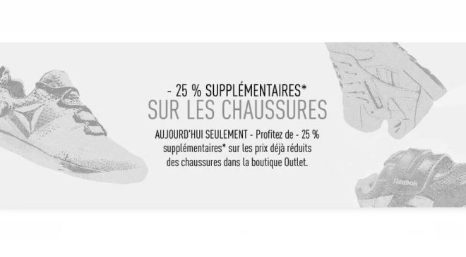 25% de remise supplémentaire sur les chaussures Reebok de l'Outlet