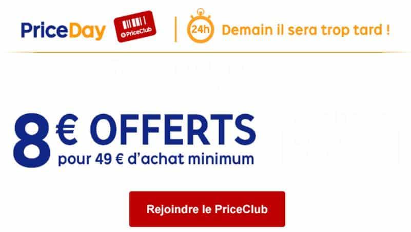 49€ d'achats sur Priceminister = 8€ de remise immédiate